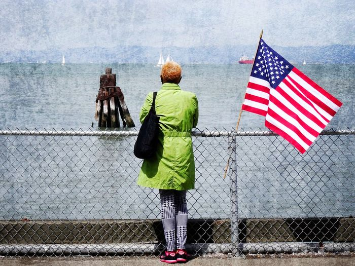 Afro American Flag Green Landscape Looking At Camera Looking Into The Future Painting Art Rear View San Francisco San Francisco Bay Sea And Sky Sea View Seascape USA Woman