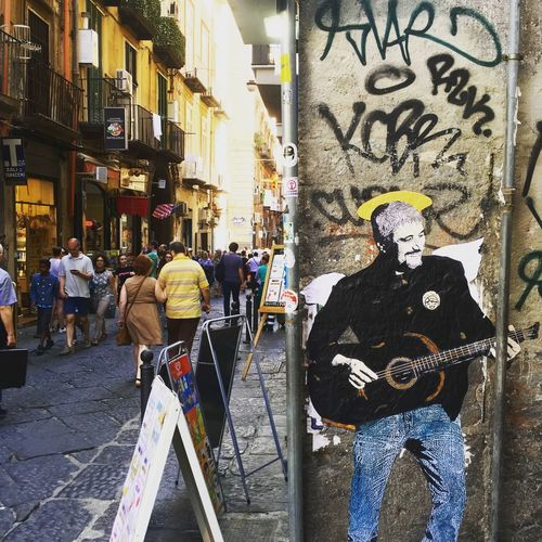 Pino Streetphotography Graffiti Art Spaccanapoli PinoDaniele Real People City Street Building Exterior Architecture Group Of People Men Walking Rear View