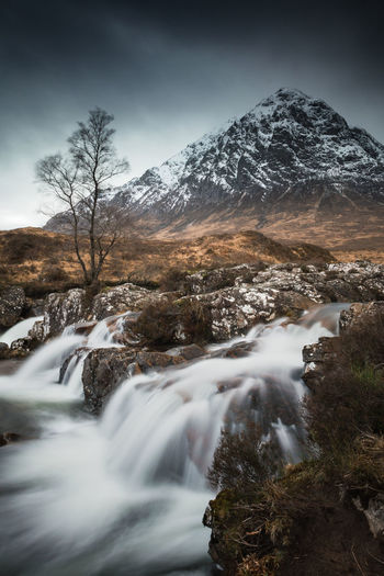 Mountain Beauty In Nature Long Exposure Motion Water Cold Temperature Blurred Motion Mountain Range Flowing Water Snowcapped Mountain Mountain Peak Scotland Highlands Glencoe