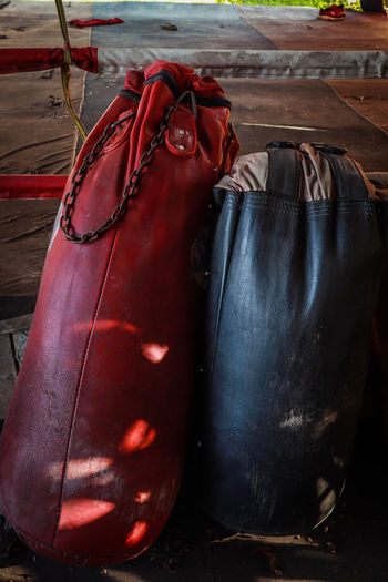 Close-up of boxing punching bags