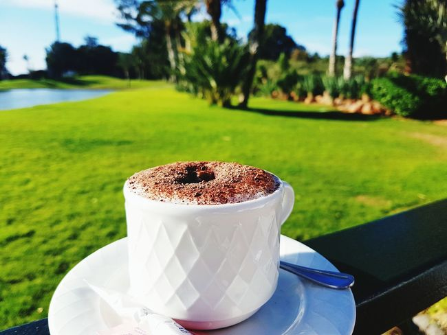 Drink Coffee - Drink Coffee Cup Food And Drink Focus On Foreground Grass Green Color Milk Espresso Freshness Tree No People Close-up Cappuccino Day Heat - Temperature Frothy Drink Mocha Green - Golf Course Latte