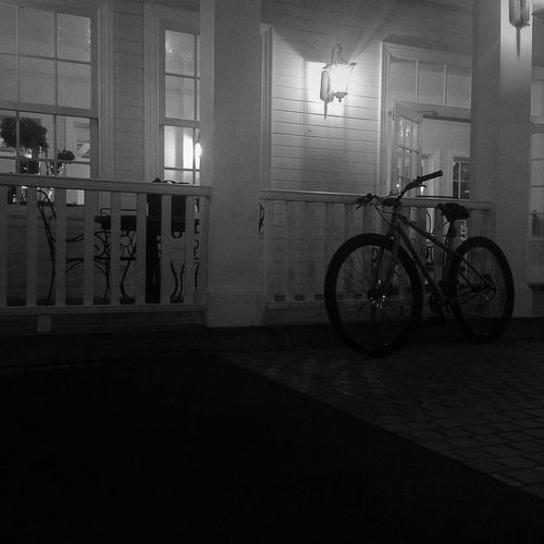 """ ALONE "" Humanride Nightride Bicycle Cycling Blackandwhite Streetphotography Commencal"