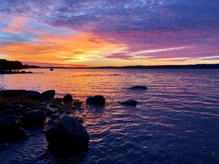 Saint Lawrence River/Fleuve Saint-Laurent Sunset Water Sea Scenics - Nature Beauty In Nature Sky Tranquility Tranquil Scene Cloud - Sky Land Beach No People Rock Idyllic Rock - Object Nature Solid Orange Color Outdoors Romantic Sky