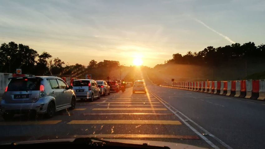 Daily route to work. Ensem Sunrise Sunset City Car Wet Sky Traffic Jam Vehicle Traffic Highway Elevated Road Two Lane Highway First Eyeem Photo