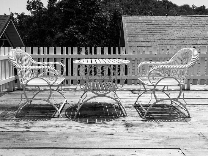 Empty chairs and tables in park