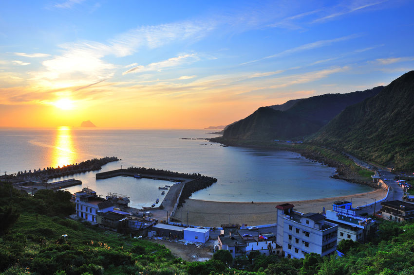 Bay fishing port scenery, beautiful morning sun Architecture Beach Beautiful Morning Sunrise Beauty In Nature Building Exterior Built Structure Cloud - Sky Coastal Day Horizon Over Water Mining Area Mountain Mountain Range Nature No People Outdoors Scenics Sea Sky Sunlight Sunset Tranquility Tree Water