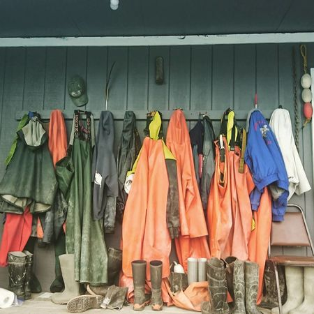 Rain Gear Fishermanvillage Fisherman Life Clothing Hanging Casual Clothing Fashion Variation Coathanger No People Indoors  Multi Colored Day