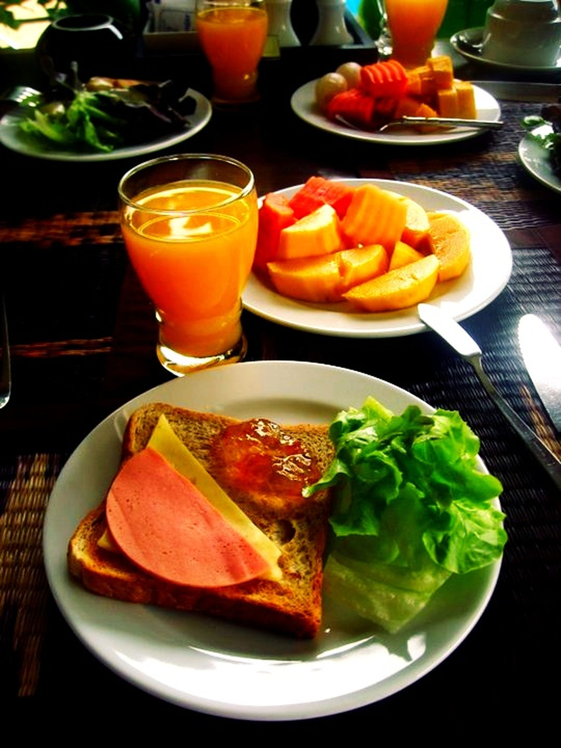food and drink, food, freshness, indoors, healthy eating, table, still life, ready-to-eat, plate, vegetable, salad, tomato, meal, serving size, close-up, slice, high angle view, meat, drink, drinking glass