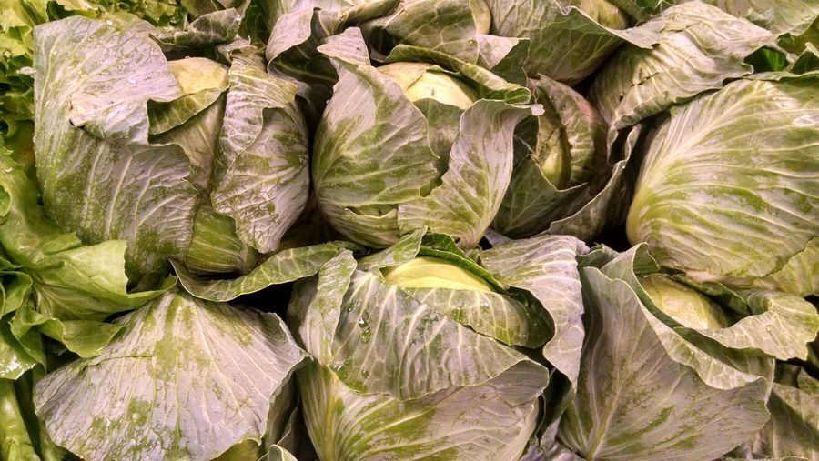 Full frame shot of cabbages for sale at market stall