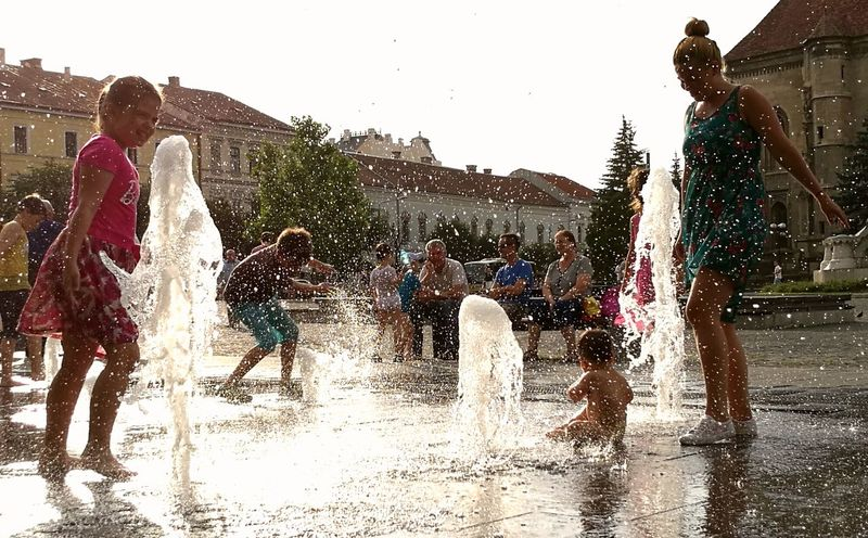 43 Golden Moments Water Fountain People Photography Children Playing With Water The City Light Colour Your Horizn