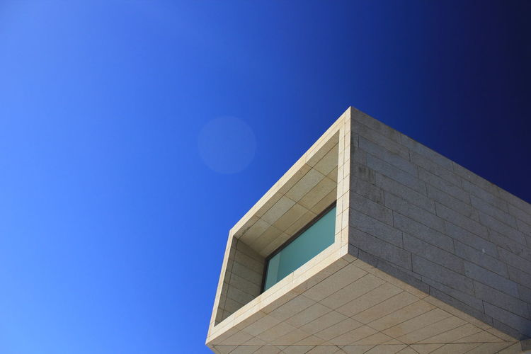 Architecture Blue Building Exterior Built Structure Clear Sky Copy Space Day Low Angle View Modern No People Outdoors Sky