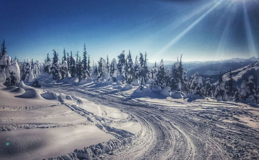 On top of the world! British Columbia Sterling Mountain Snowmobile Sky Snow Winter Beauty In Nature