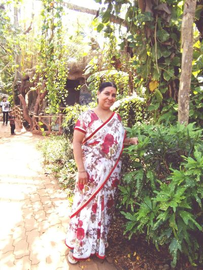 That's my beautiful mom in red printed saree,green nature, Taking Photos Hanging Out Enjoying Life Hello World