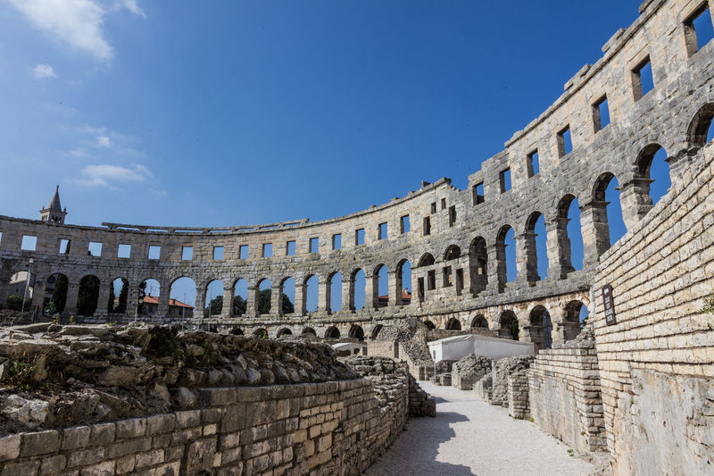 Amphitheater, Pula, Croatia Croatia Istrien Amphitheater Ancient Ancient Civilization Arch Archaeology Architectural Column Architecture Blue Building Exterior Built Structure Clear Sky Day History Istria No People Old Ruin Outdoors Pula Sky The Past Tourism Travel Travel Destinations