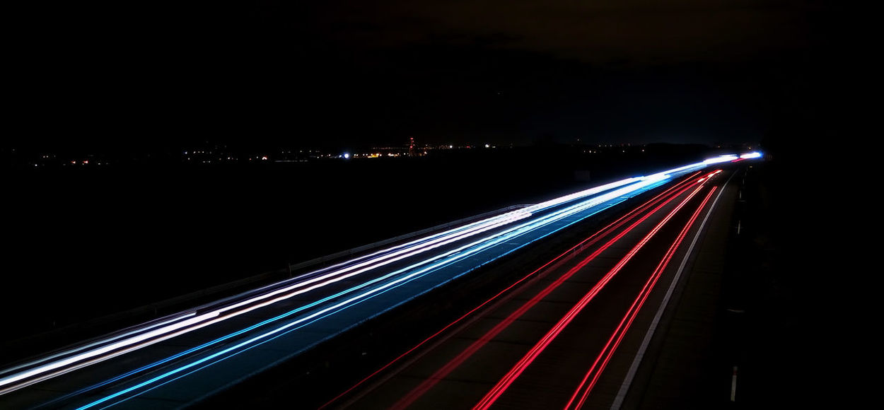 Life in red&blue ... Blue Light Trail Long Exposure Motion Motorway Night Red Red&blue Road Speed Traffic Transportation Vehicle Light