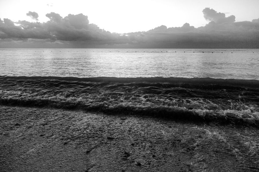 Low Clouds Mexico Beach Beauty In Nature Black And White Day Landscape Nature No People Outdoors Rippled Sand Scenics Sea Sky Tranquil Scene Tranquility Tree Tropical Water Wave