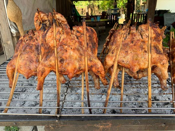 Meat Food Food And Drink Barbecue Freshness Roasted Preparation  Grilled Day No People Preparing Food Barbecue Grill Chicken Meat Chicken Heat - Temperature Metal Wellbeing Healthy Eating Still Life Close-up White Meat