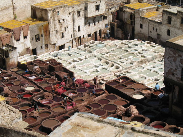 High angle view of textile industry