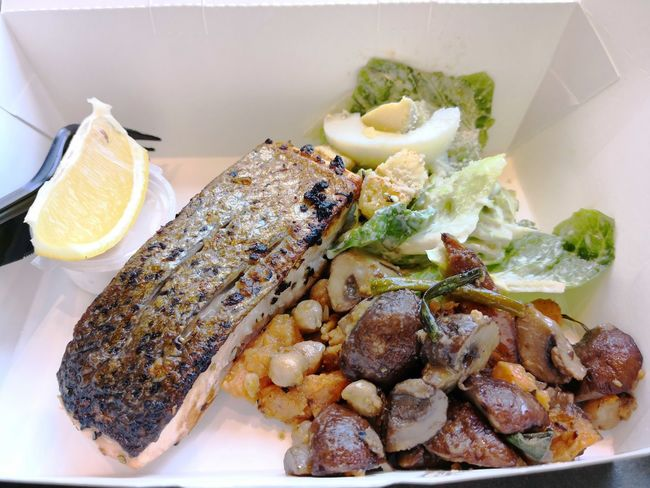 Grilled salmon with caesar salad and Roasted button mushrooms with sweet potatoes and chickpeas Salmonsteak Caesar Salad Mushroom Grilledsalmon EyeEm Selects Healthy Eating Food Seafood Food And Drink Freshness No People Plate