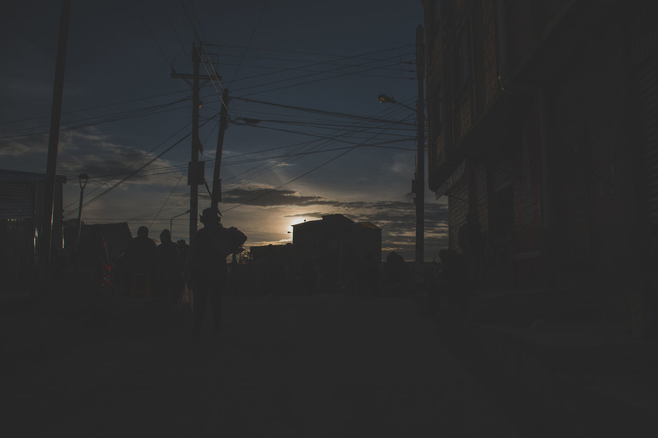 silhouette, sky, cable, architecture, built structure, building exterior, sunset, outdoors, cloud - sky, city, no people, day
