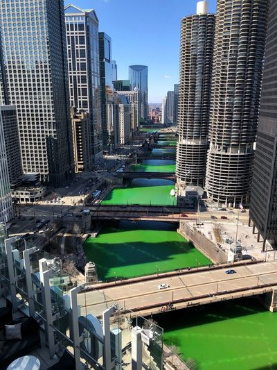 St. Patrick's Day in Chicago Chicago Built Structure Architecture Building Exterior City Building Office Building Exterior Skyscraper Tall - High Day Modern Cityscape Travel Destinations Water Outdoors Landscape Financial District  Art Architecture St Patrick's Day Urban Skyline Urban City Cityscape Architecture_collection Green Green Color Skyline No People Office Tourism Tourism Destination Travel
