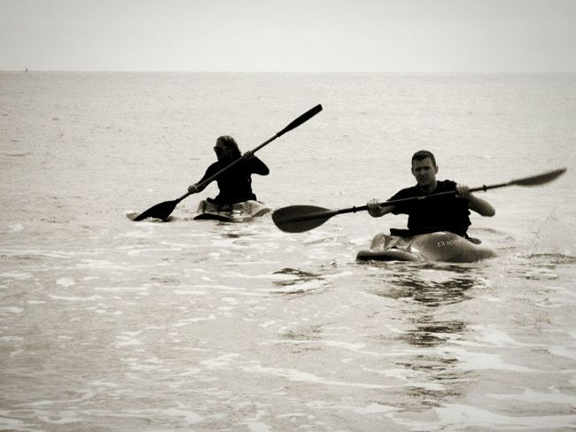Kayaking Home Sea Black & White My Brother & I Hobbies