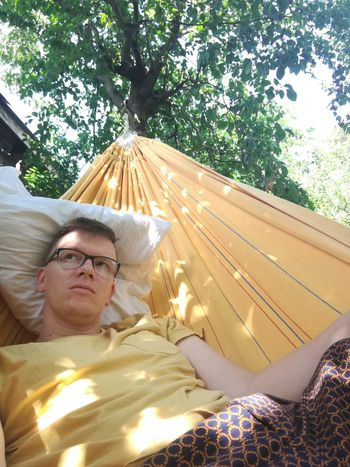 Gay Gaymen Tree Eyeglasses  Relaxation Lying Down Sunlight Summer Smiling Mature Men Hammock Napping At Home Laziness Resting