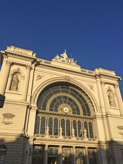 Keleti railway station front Arch Architecture Blue Building Building Exterior Built Structure Capital Cities  Day Entrance Famous Place Front Front View Gate Keleti Pályaudvar Keleti Railway Station National Landmark Outdoors Tourism Travel Destinations