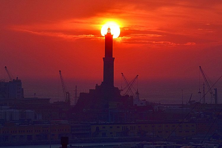 Sunset Tramonti_italiani Night Lights Sky_collection Lanterna Di GenovaNo People Lighttower Ig_genova Sunshine ☀ Genovamorethanthis Genova Sky Outdoors