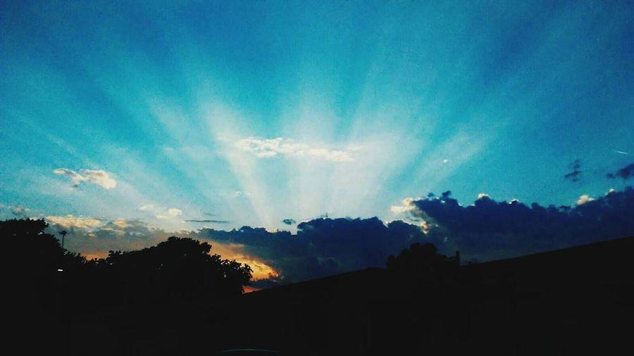 good mornin sunshine Multi Colored Silhouette Blue Sky Landscape Cloud - Sky Dramatic Sky Moody Sky