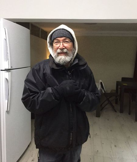 Real People Looking At Camera One Person Portrait Front View Standing Senior Adult Home Cold Cold Inside Warm Clothes Man