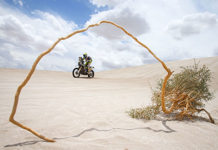 Desert Transportation Sky Mode Of Transportation Scenics - Nature Land Nature Travel Motorcycle Land Vehicle Environment Day Landscape Cloud - Sky Sand Riding Ride Real People Beauty In Nature One Person Climate Arid Climate Outdoors Dakar Argentina