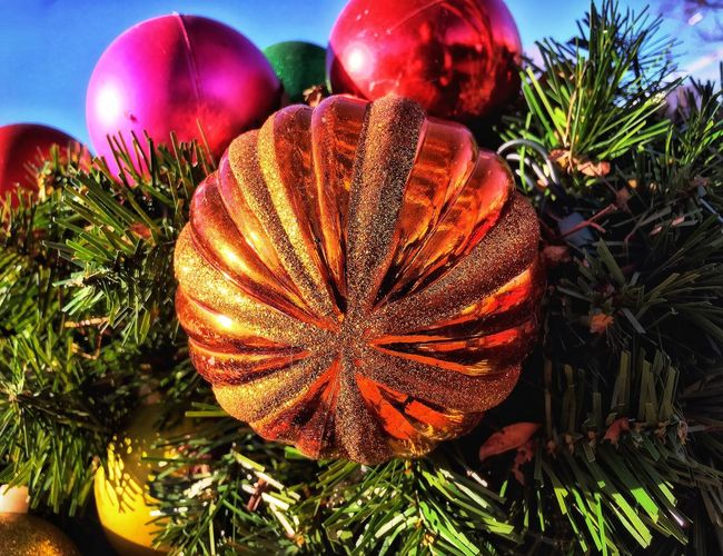I've never been more tempted to steal a Christmas ornament. 🤨😅 Christmas Ornament Festive Season Reflection Vibrant Color Walking Around Taking Photos Clear Sky I Want This Afternoon Textures And Surfaces Glass Orange Color Christmas Decoration Sky Outdoors Freshness