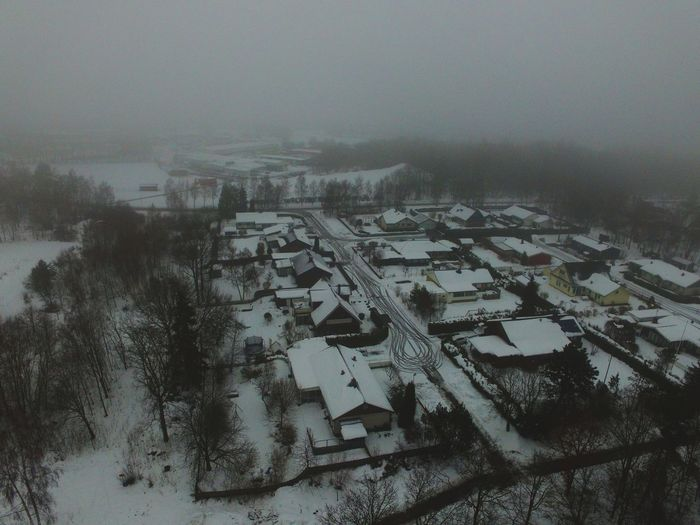 High angle view of houses during winter