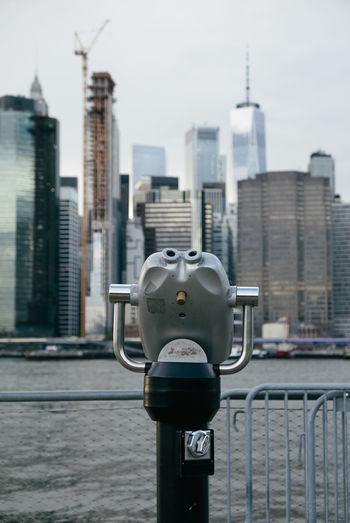 Manhattan Manhattan Skyline NYC New Yokr New York City New York Skyline  Travel Binoculars Coin Operated Focus On Foreground One World Trade Center Travel Destinations Urban