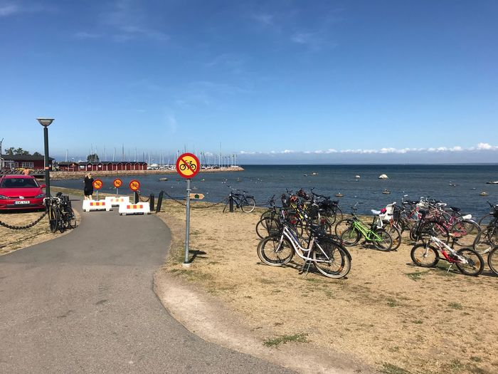 No Cycle area Bycicle Photography Bicycle No Bikes Allowed Sky Water Transportation Sea Nature Mode Of Transportation Bicycle Land Vehicle Beach Horizon Over Water No People Parking Outdoors Sunlight