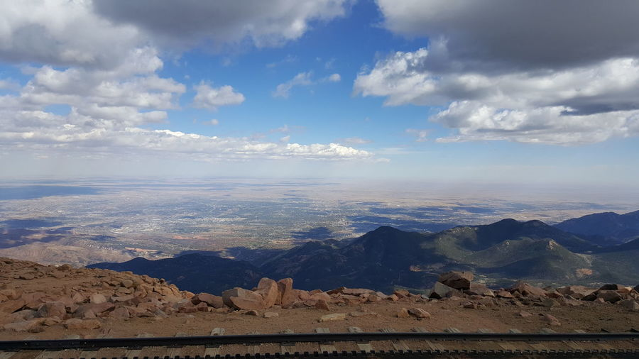 Pikes Peak Summit Landscape Sky Mountain Range Majestic Mountain