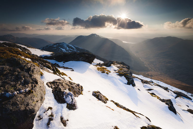 Sunburst on Ben Ime Arrochar Ben Ime Clouds Landscape Mountain Mountain Range Snow Snow Covered Sun Sunburst