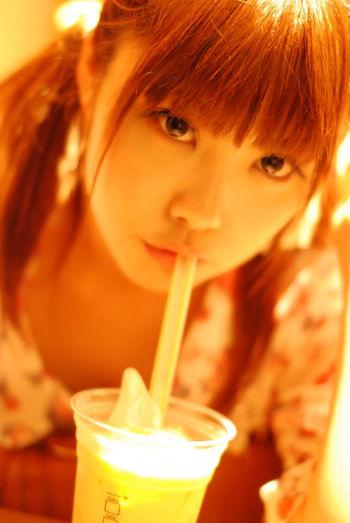 ストローでジュース。Model:りんすPortrait Color Portrait KAWAII Girl