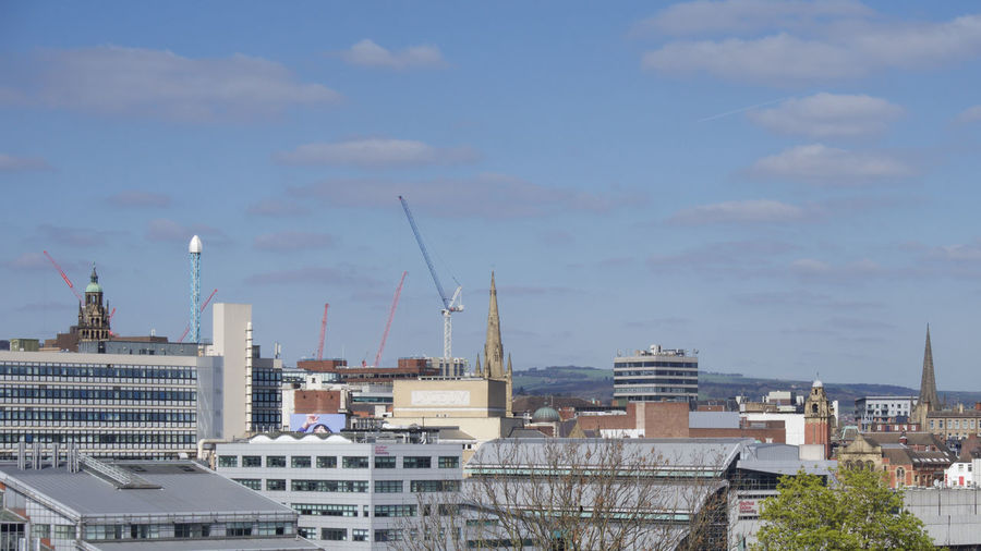 View across Sheffield City Centre from park Hill Sheffield Architecture Built Structure Building Exterior Building City Sky Residential District Cloud - Sky Nature Cityscape No People Industry Day Outdoors Roof Machinery Construction Industry Development