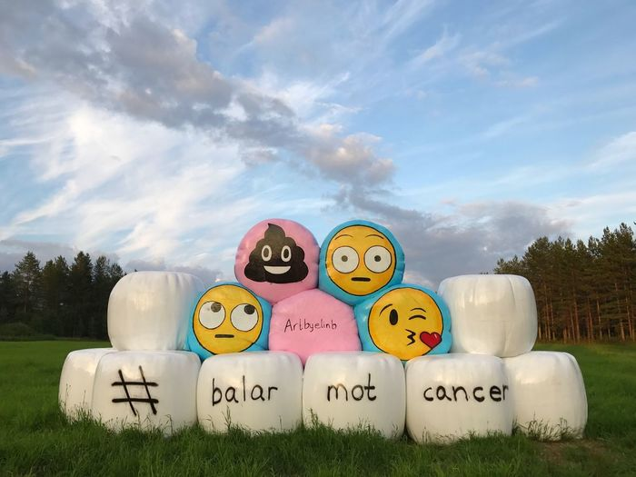 EyeEm Selects Balarmotcancer Cloud - Sky Sky Day Outdoors No People Tree Grass Multi Colored Nature Smileys Smiley Norrland Norrbotten Sweden Hay Ensilage Ensilagebale Bale  Art Artbyelinb Balesagainstcancer Awareness Cancerawareness