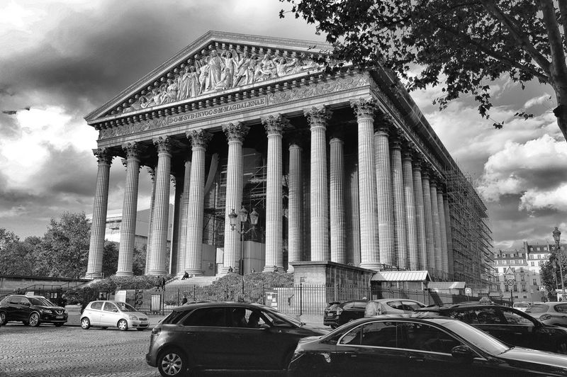 Architectural Column Architecture B&w Black And White Building Exterior Built Structure Car Cloud - Sky Day EyeEmNewHere Famous Landmarks History Low Angle View Madeleine No People Outdoors Paris, France  Photography Place De La Madeleine Sky Travel Travel Destinations Tree Urban Exploration