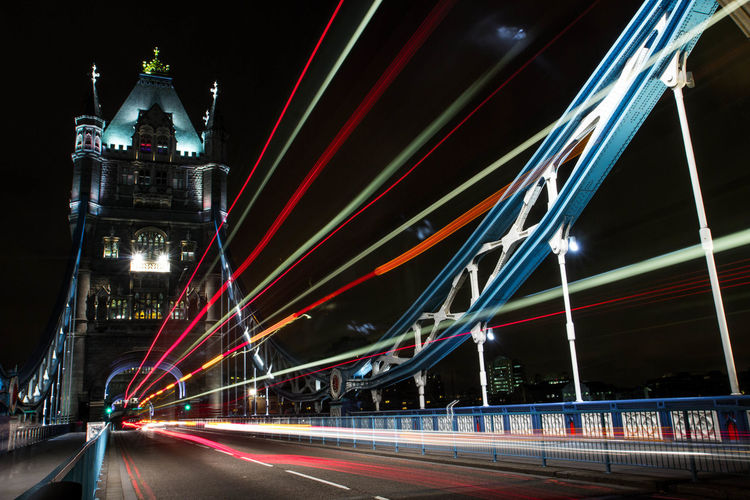 Light trails on tower bridge at night