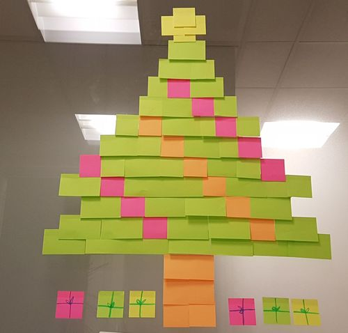 Post It War Post Its Premium Collection Premium Christmas Tree Justforfun Shape Multi Colored Toy Block Stack Large Group Of Objects Puzzle  No People Pixelated Arrangement Indoors