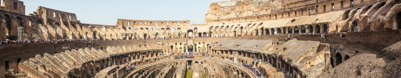 Ultra wide view of the internal of the colosseum in rome