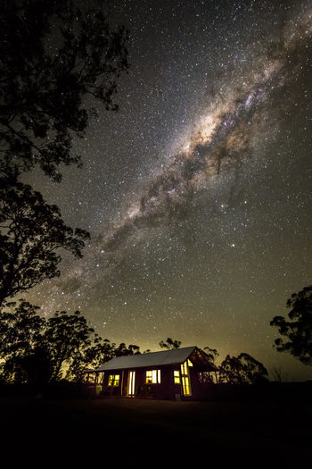 Out little ridgetop cabin under the milky way. Laguna, NSW, Australia Australian Landscape Clear Night Sky Galaxy New South Wales  Astronomy Built Structure Bushland Cabin Forest Galaxy House Low Angle View Milky Way Milkyway Nature Night No People Outdoors Remote Ridgetop Sky Space Star - Space Tree