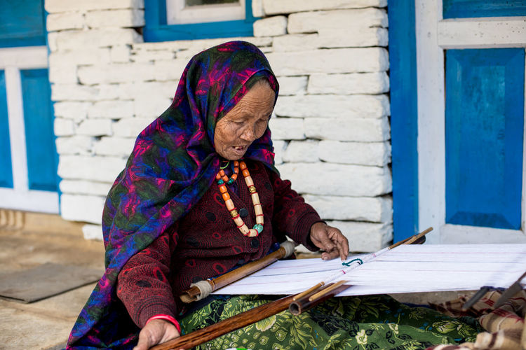 Adult Backstraploom Elder Fabric Hand Loom Handmade Homemade Old Old Woman One Person People Sitting Textile Textiles Thread Thread Work Threads Traditional Weaving Women Working EyeEmNewHere