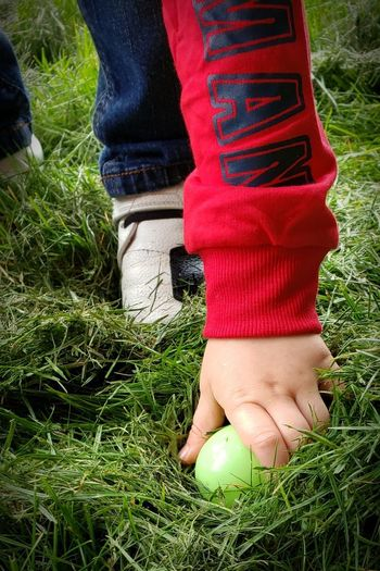 Arm Discovery Hidden Gems Hidden Beauty Hand Easter Egg Toddlerlife Check This Out Darryn Doyle Easter Toddler  Food Upclose  Low Section Sock Human Leg Red Standing Shoe Limb Grass Human Foot Footwear Personal Perspective Leg