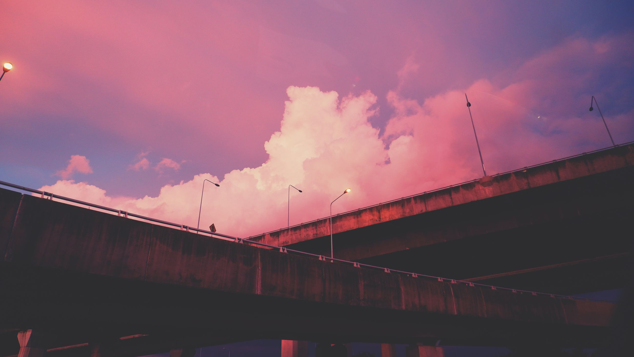 cloud, sky, architecture, built structure, bridge, evening, reflection, sunset, nature, transportation, dusk, night, no people, light, darkness, low angle view, building exterior, outdoors, water, industry, city