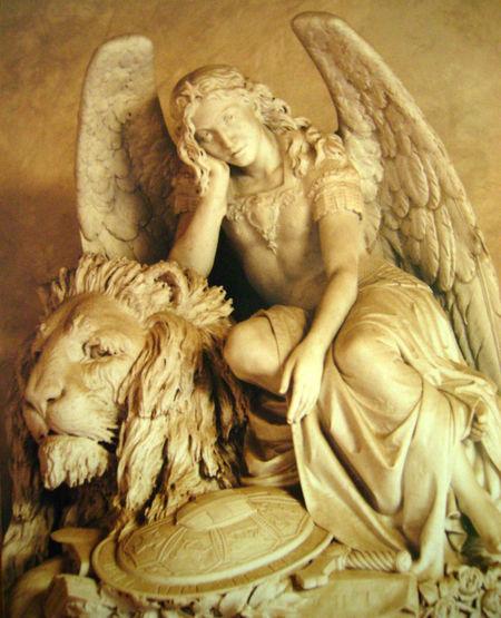 Angel Art Carving - Craft Product Lion Marble Statue No People Paris Sculpture Statue